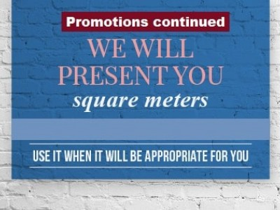 """Do not miss! We will present you square meters! """